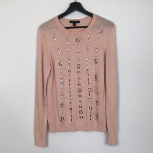 Ann Taylor Blush Jewel Embellished Sweater M